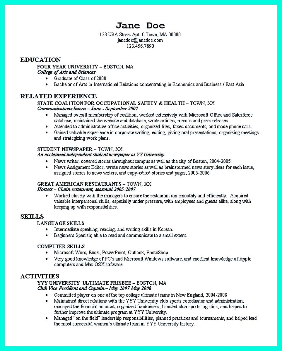 resume templates for a college student  Best College Student Resume Example to Get Job Instantly - resume templates for a college student
