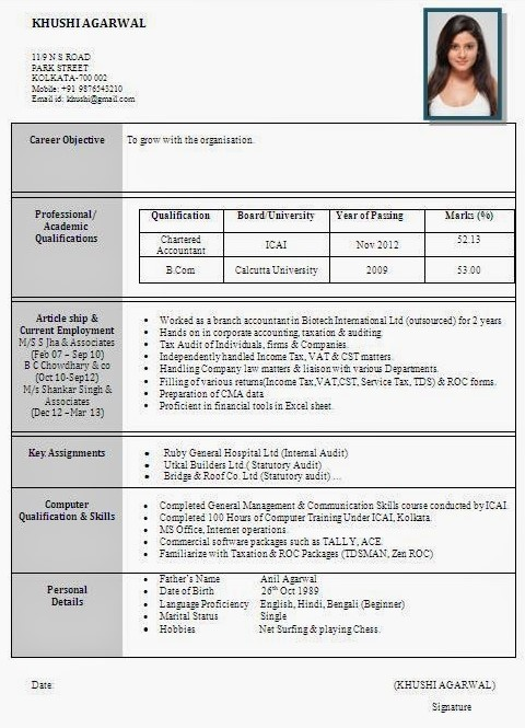 resume template india  Best Resume Formats For India – Download - resume template india