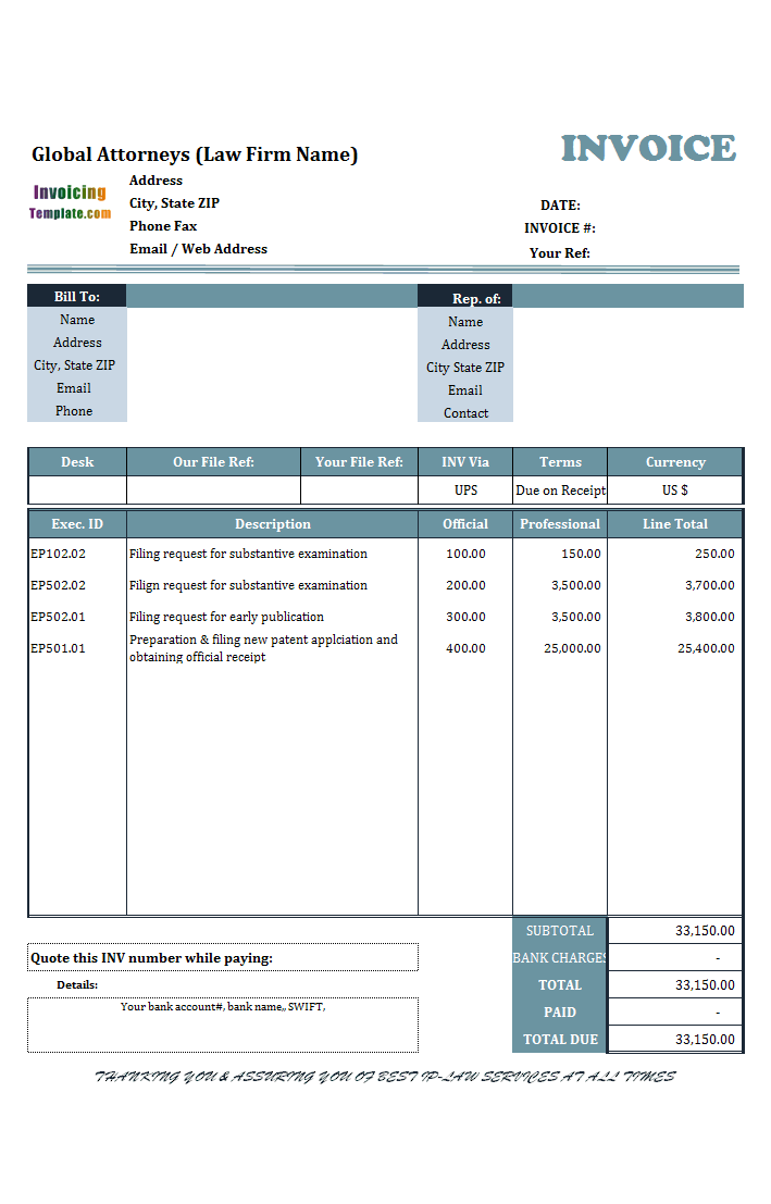invoice template law firm  Billing Software Quotation Sample - invoice template law firm