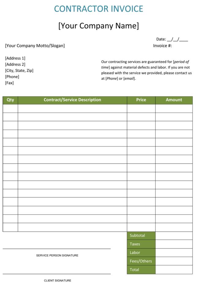 build a invoice template  Construction Invoice Template - 5 Contractor Invoices - build a invoice template