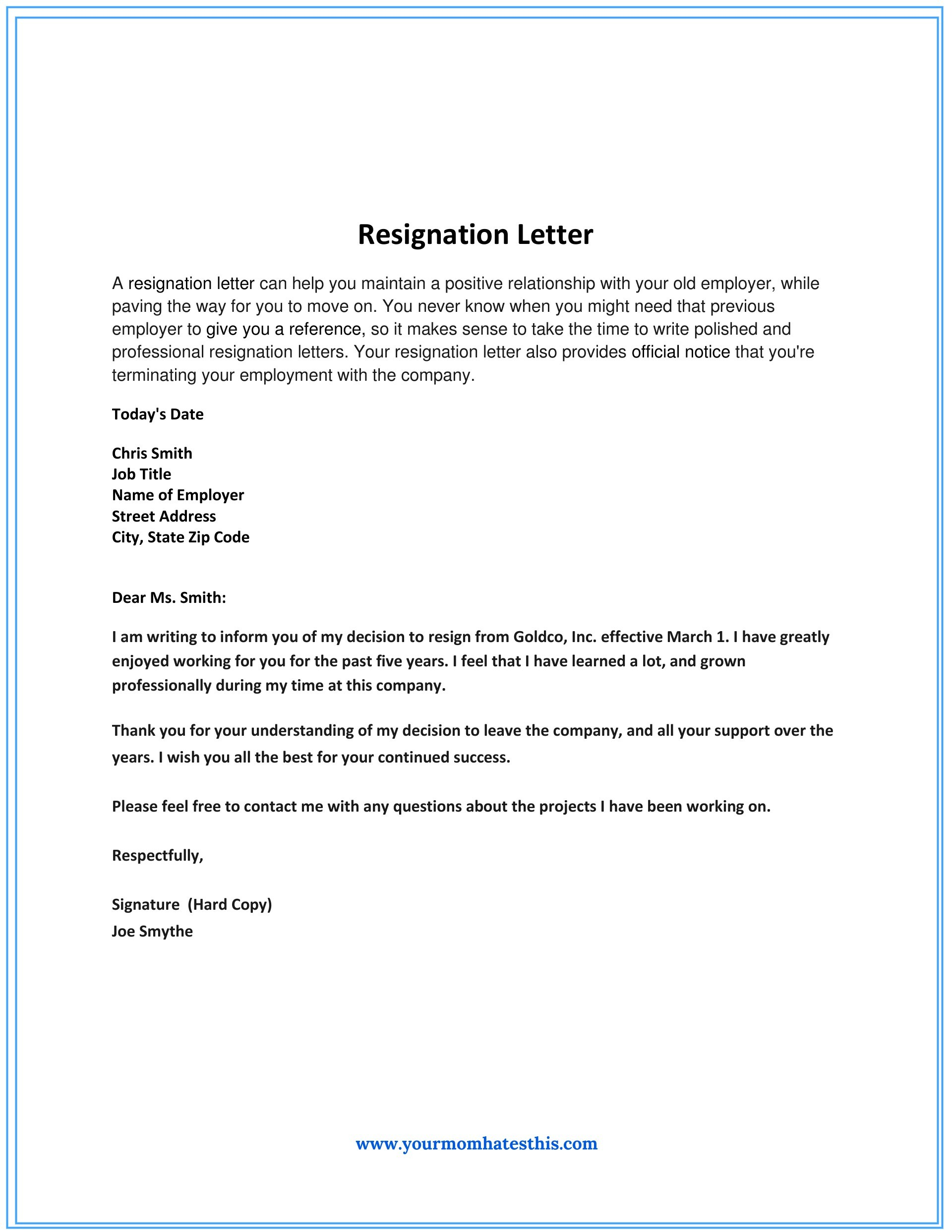 resignation letter memo  Dos and Don'ts for a Resignation Letter - resignation letter memo