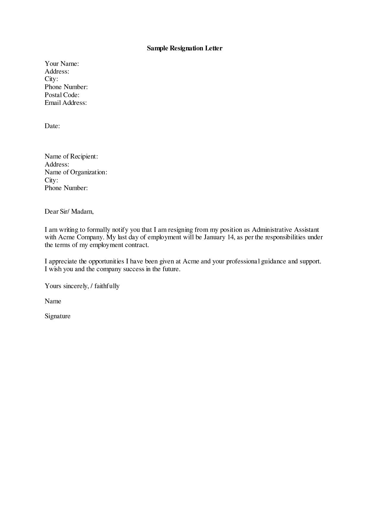 resignation letter memo  Download Resignation Letters Pdf & Doc - resignation letter memo