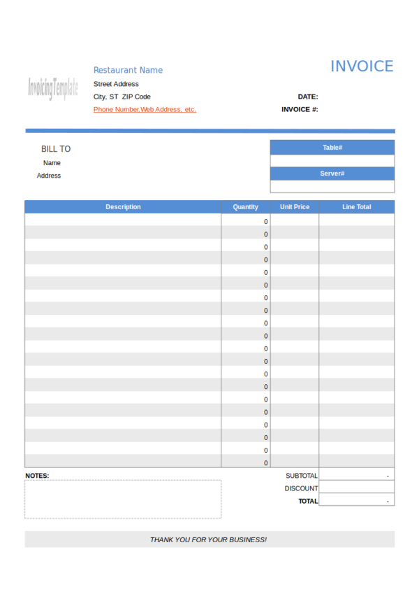 invoice template no tax  FREE 13+ Restaurant Invoice Samples & Templates in PDF ..