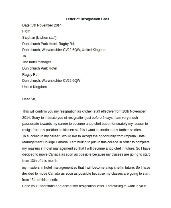 resignation letter kitchen  FREE 6+ Sample Letters of Resignation in PDF | MS Word - resignation letter kitchen