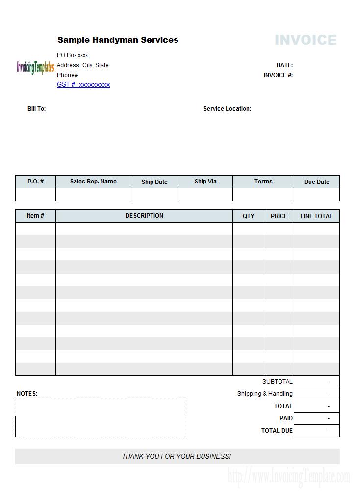 invoice template no tax  Handyman Bill Sample (No Tax)   Invoice template word - invoice template no tax