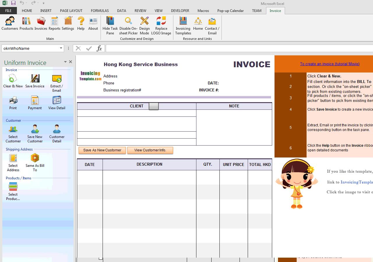 hong kong invoice template  Hong Kong Service Invoice Template - hong kong invoice template