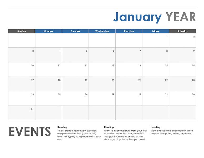 calendar template horizontal  Horizontal/Event Monthly Calendar Template | ExcelTemplate - calendar template horizontal