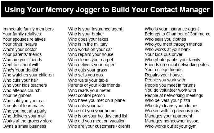 memory jogger list template  Jumpstart Your Database: From Zero to 100 Contacts in a Week - memory jogger list template