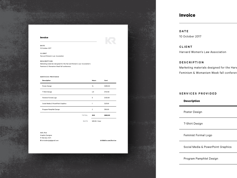 kr invoice template  KR Invoice by Kelly Rice on Dribbble - kr invoice template