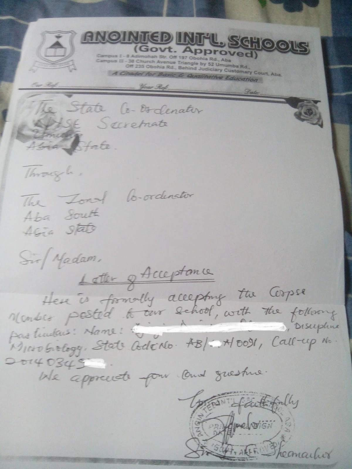 nysc company clearance letter  NYSC acceptance letter format Legit