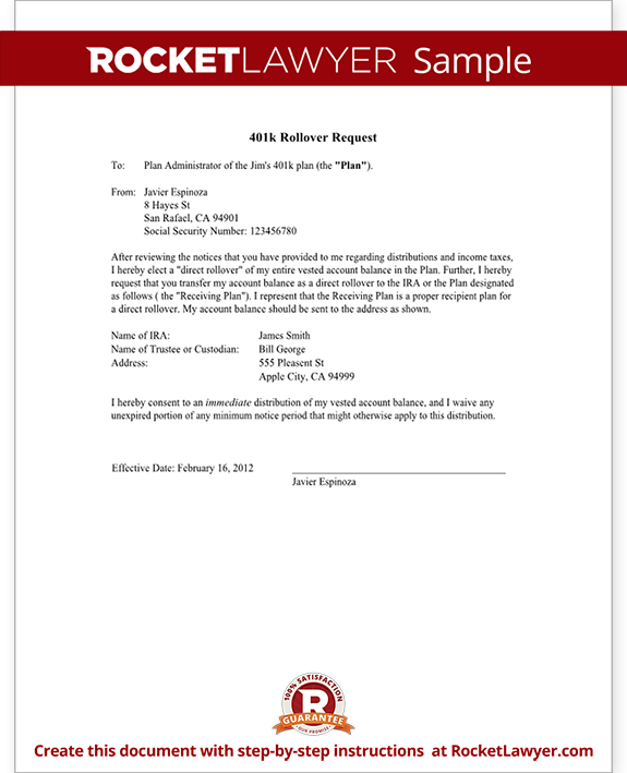401 k rollover request letter  Request 401k Rollover to Roth IRA, New Employer Letter - 401 k rollover request letter
