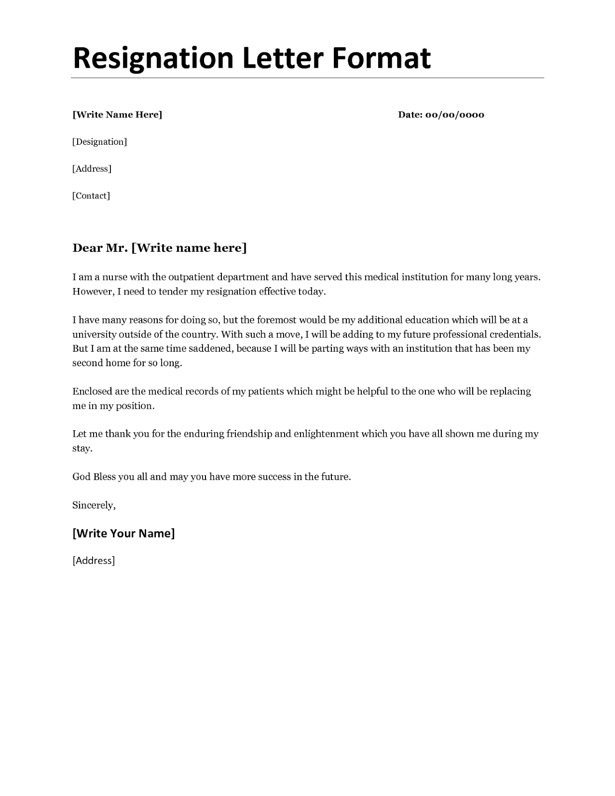 hr resignation letter format  resignation letter example - hr resignation letter format
