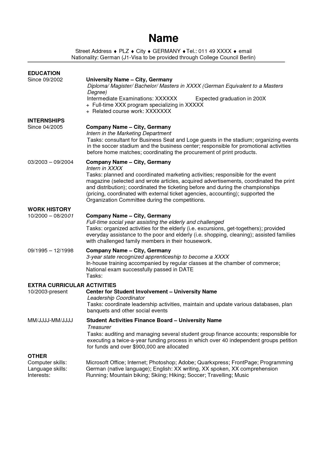 resume template usa  Usa - resume template usa