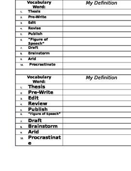 template for vocabulary list  Vocabulary List Template by Metta | Teachers Pay Teachers - template for vocabulary list