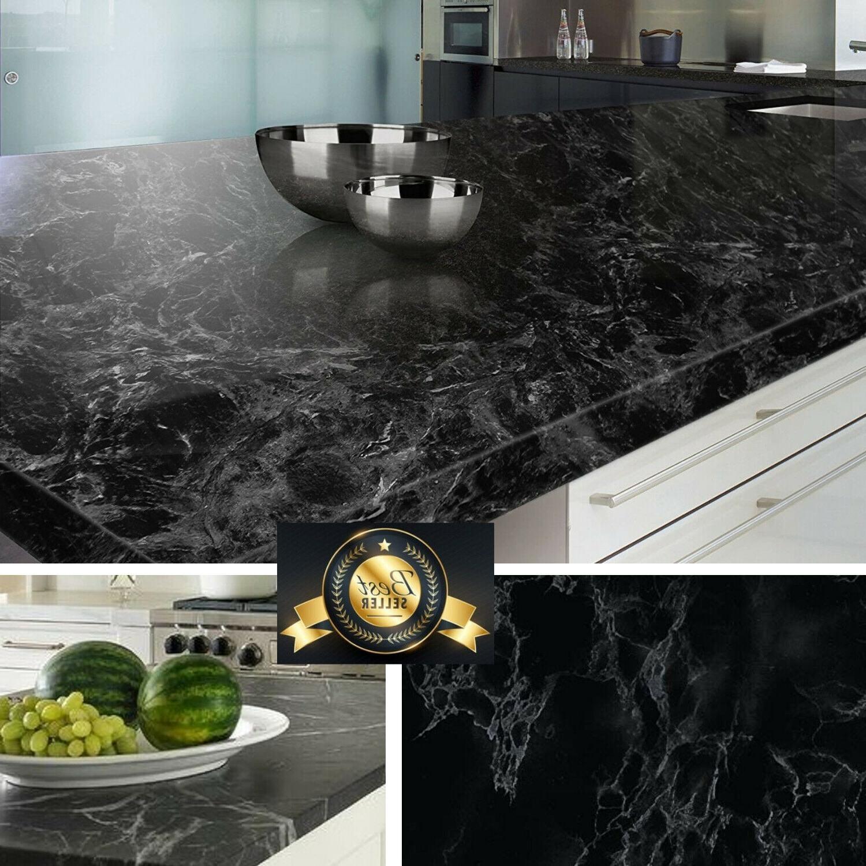 countertop contact paper granite  Black Marble Granite Contact Paper Countertop Vinyl Self - countertop contact paper granite
