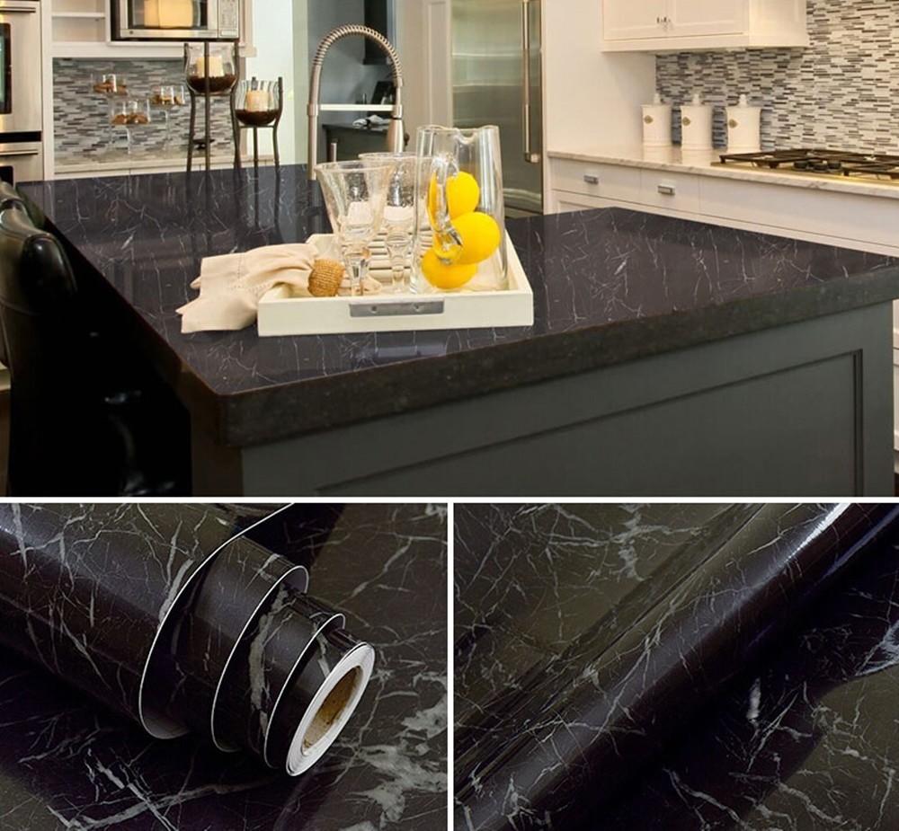 kitchen countertop marble contact paper  Black Marble Waterproof Vinyl Self adhesive Wallpaper ..