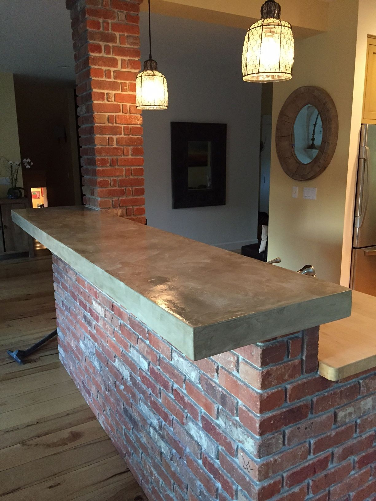 bar countertop tile  concrete overlay on tile | Bar countertops, Home bar ..