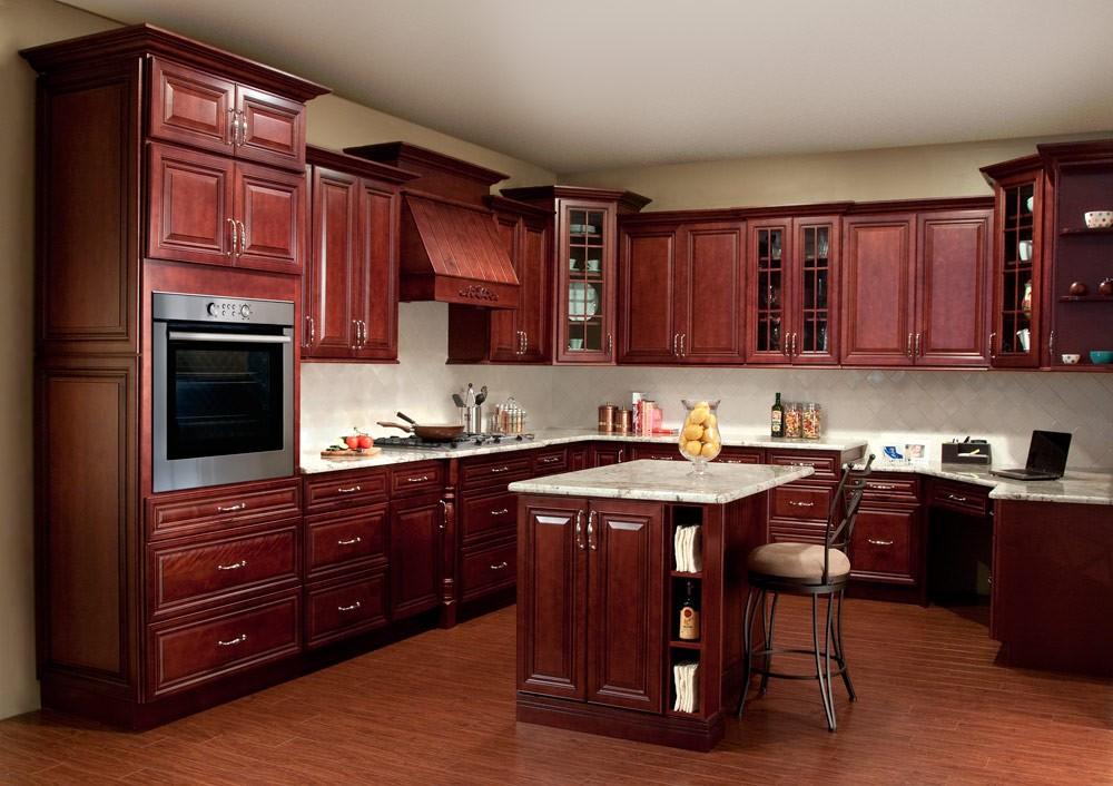 countertop colors that go with cherry cabinets  Creating a Stylish Kitchen Look Using Kitchen Pain Colors ..