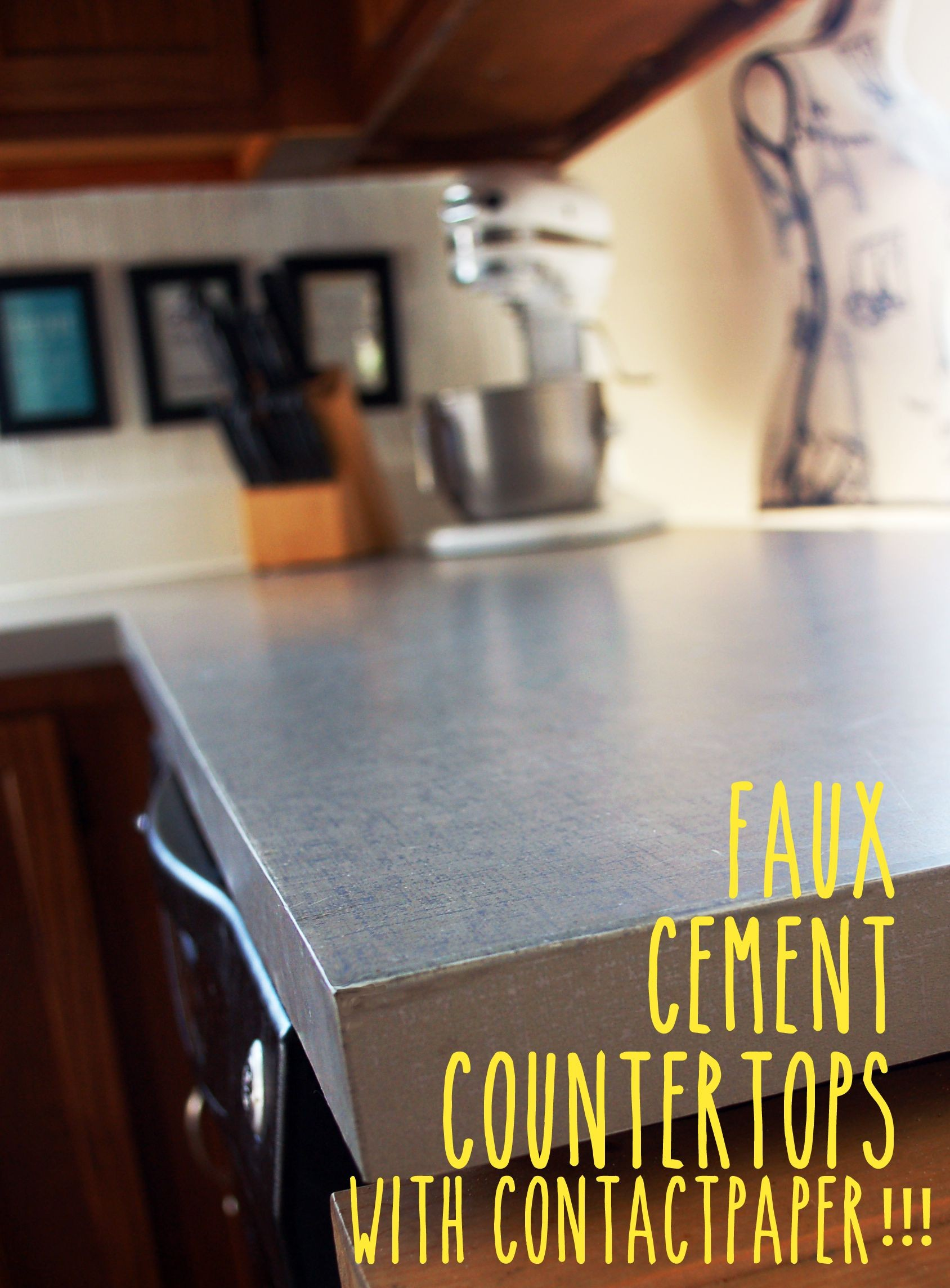 concrete countertop contact paper  Faux Cement Countertops with Contact Paper!!! This looks ..