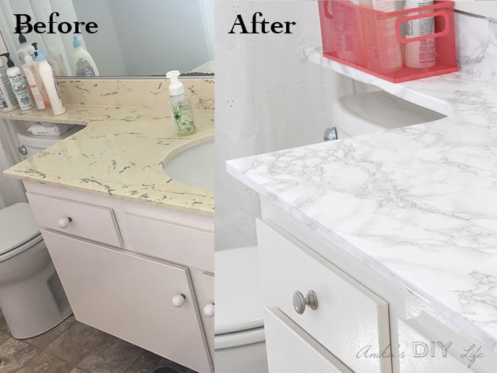 renter friendly countertop contact paper  Marble Contact Paper Countertop - 10 Months Later - Anika ..
