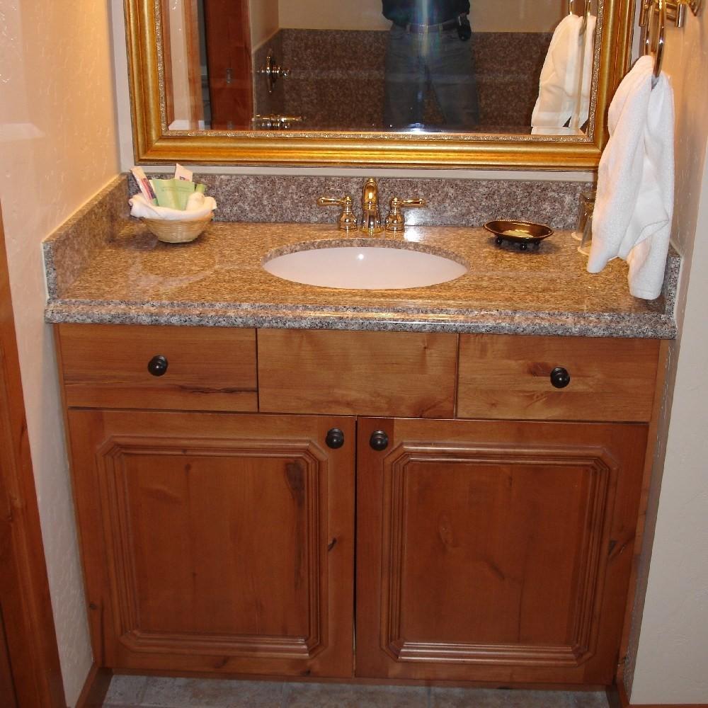 granite backsplash not flush against wall  New Bathroom Vanity & Counter - Not Square Wall...