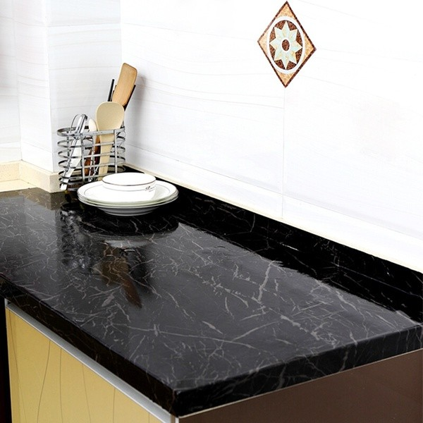 kitchen countertop marble contact paper  New Black Marble Contact Paper Granite Wallpaper Self ..