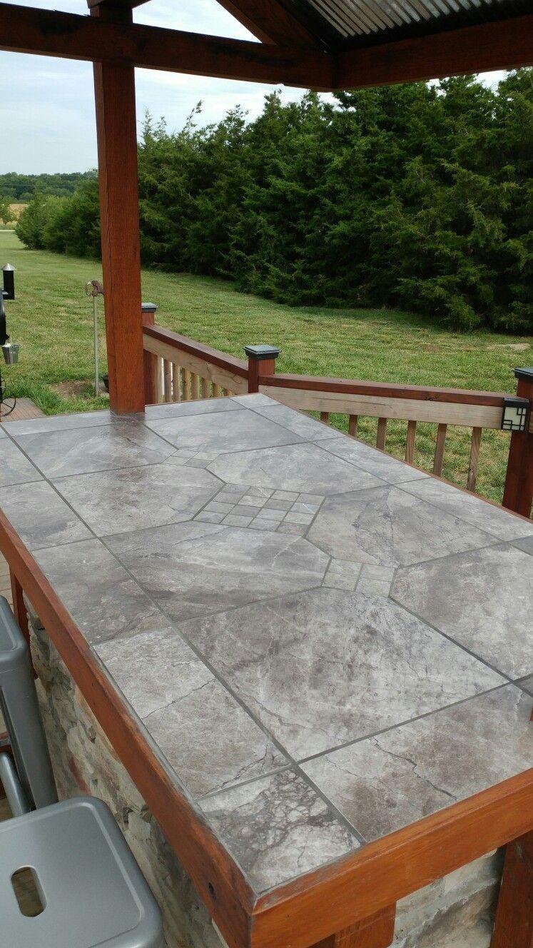bar countertop tile  Outside bar top tile | Outdoor countertop, Diy outdoor bar ..