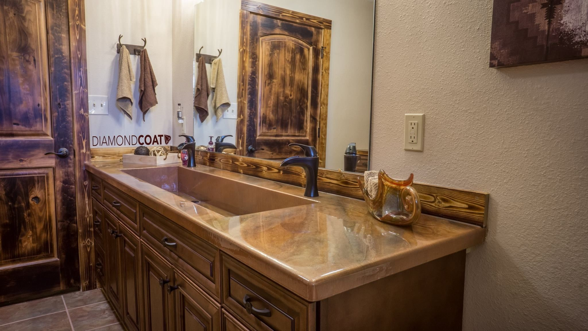 countertop bathroom epoxy  Rustic look, with an epoxy countertop. Totally ..