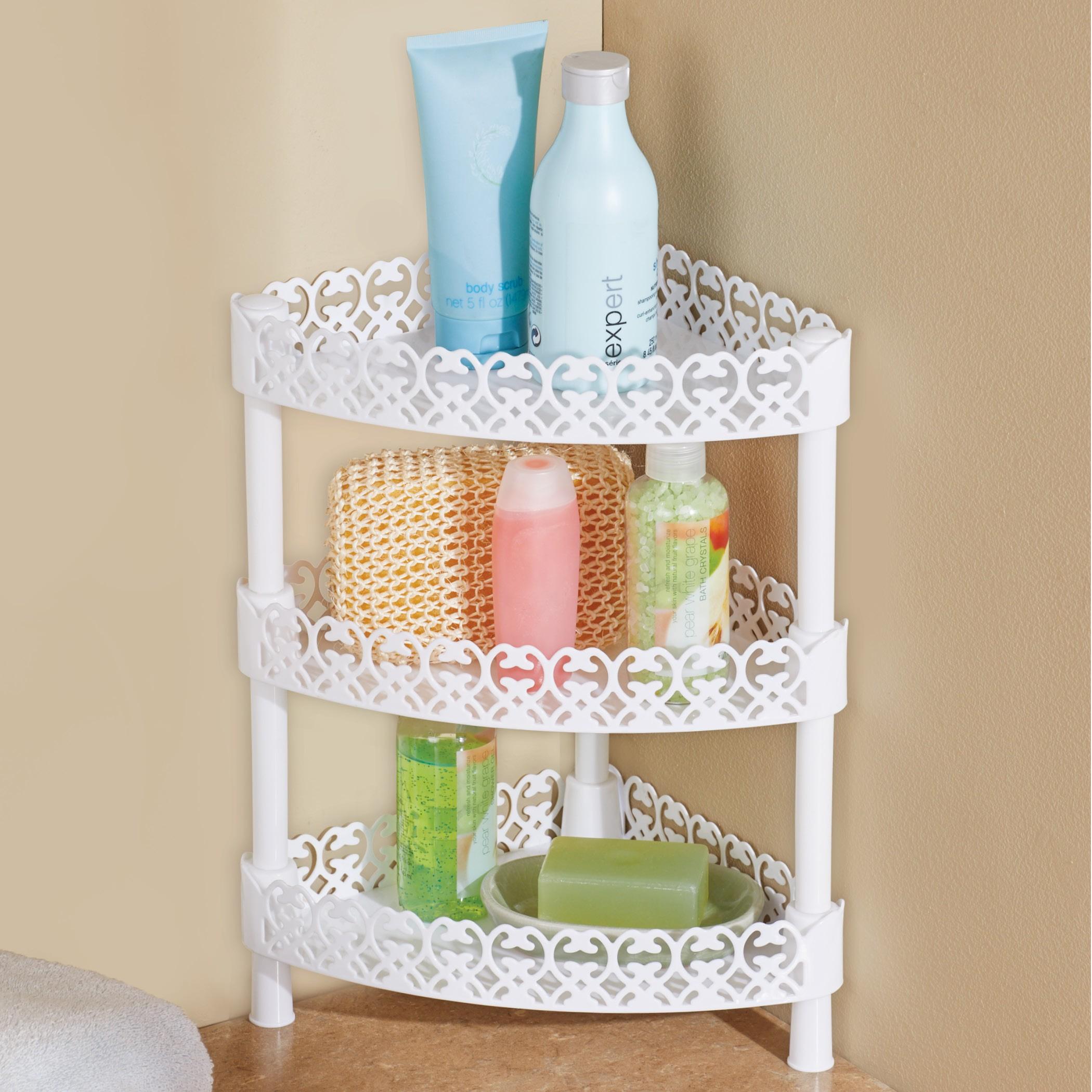 tiered bathroom countertop organizer  White Scrolling 3-Tiered Corner Organizer Shelf for ..
