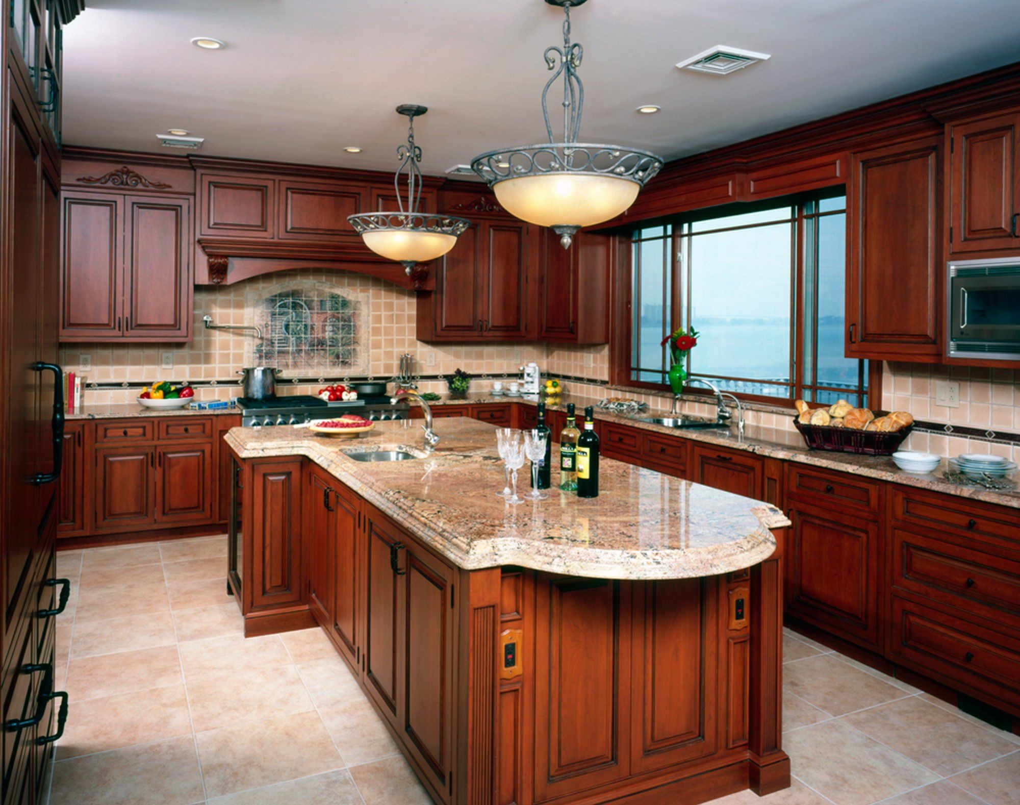 countertop colors that go with cherry cabinets  White Spring Granite for Your Fancy House - Traba Homes - countertop colors that go with cherry cabinets