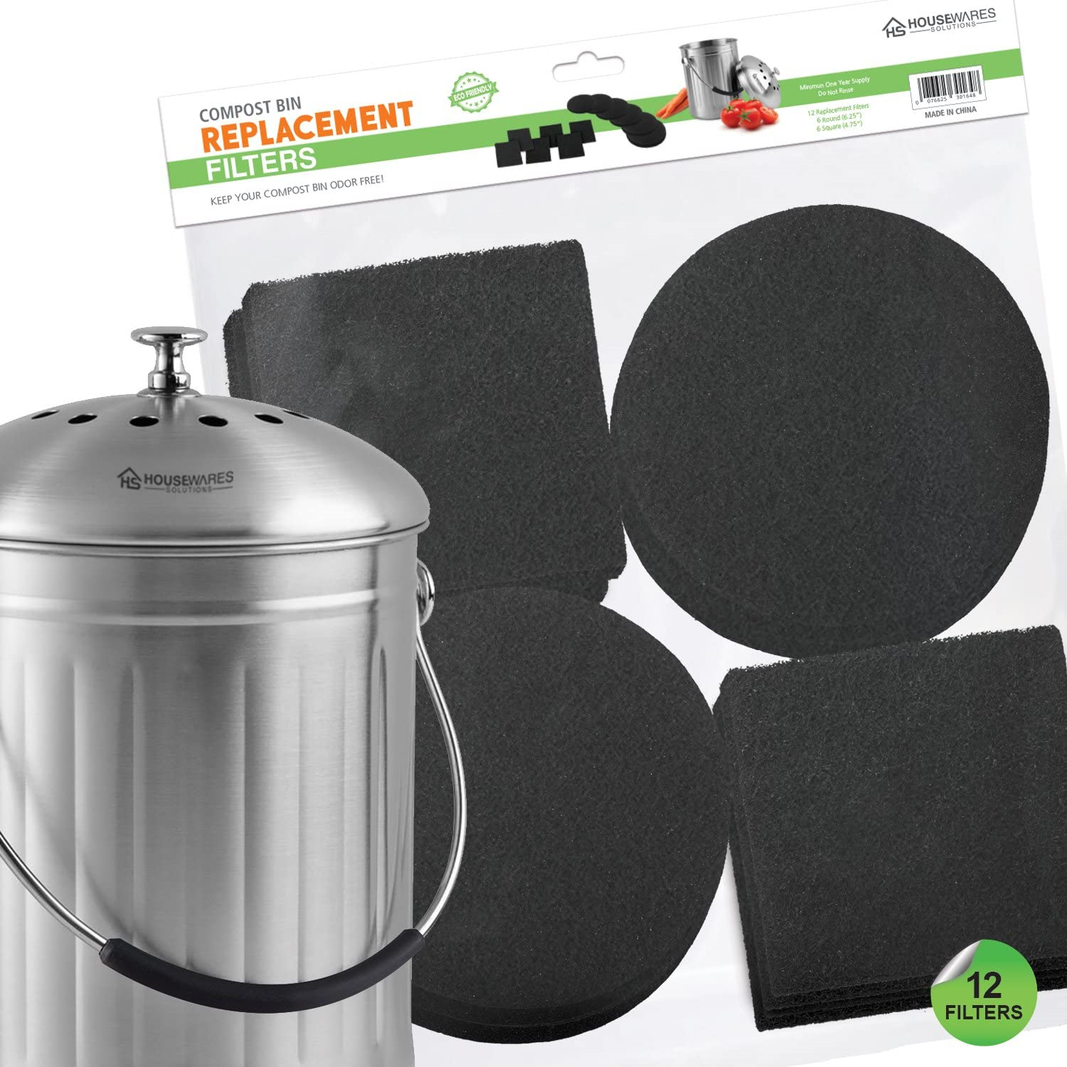 crofton countertop compost bin filter replacement  12 Pieces Activated Carbon Filters Compost Bin Replacement ..
