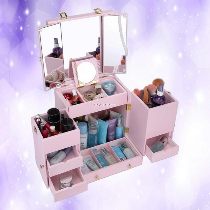 countertop makeup cabinet  Countertop Makeup Organizer Jewelry Storage Luxury Cabinet ..
