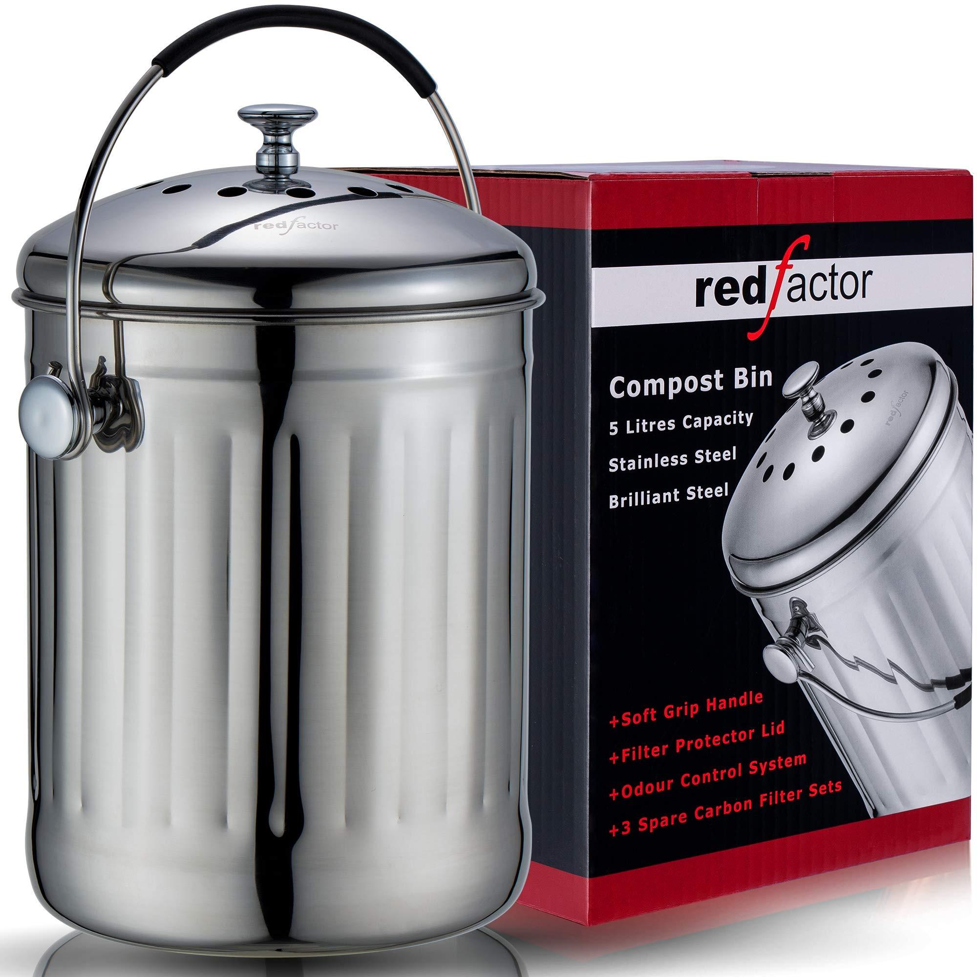 red countertop compost bin  RED FACTOR Premium Stainless Steel Odourless Compost Bin ..