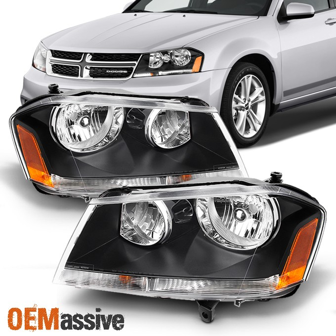 dodge avenger headlights  Fits 08-14 Dodge Avenger Black Replacement Headlights ..
